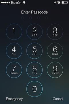 Ввод пароля разблокировки